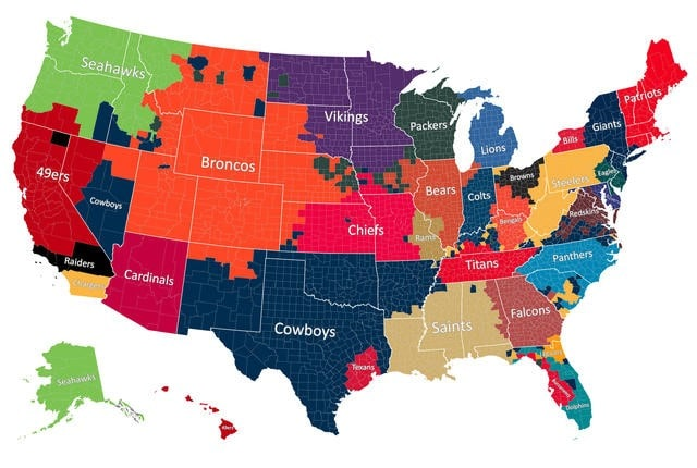 Most Popular NFL Team by County