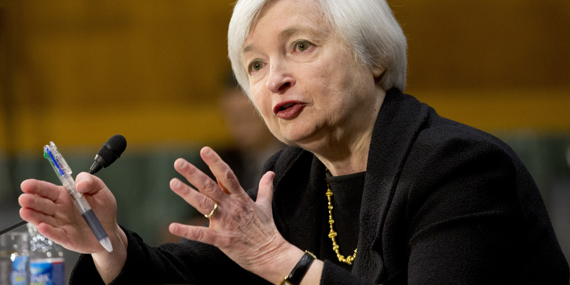 Janet Yellen, of California, President Barack Obama's nominee to become Federal Reserve Board chair, testifies on Capitol Hill in Washington, Thursday Nov. 14, 2013, before the Senate Banking Committee hearing on her nomination to succeed Ben Bernanke. (AP Photo/Jacquelyn Martin)