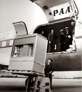 harddrive being loaded into plane