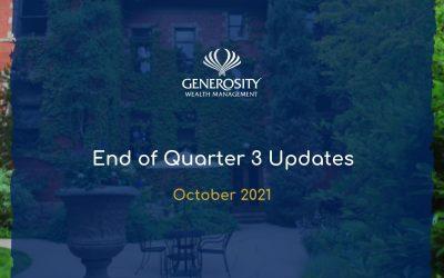 2021 End of Quarter 3 Updates